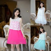 8279# Cutout Lace Chiffon Patchwork Maternity Dress Elegant Clothes for Pregnant Women 2015 New Summer roupas para gestantes