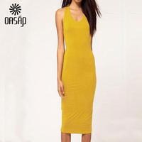 OASAP  2015 Women Summer Yellow / black / Orange Cut out Backless O- Neck Bodycon Midi Dress Vestidos Feminino Women Clothing