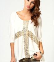Fashion casual shirt cross pattern paillette decoration low o-neck super large half sleeve loose t-shirt M-XXL