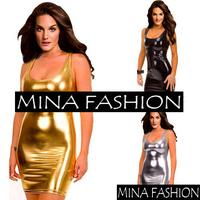 Sexy PU Fashion Tank Dress European And American Style Solid Mini Dresses wf-3010