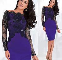 Fashion New 2015 Autumn Winter Lace Splice Casual Tops Plus Size Long Sleeves Slash Neck Women's Sexy Dress Female Vestidos