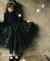 2015 New Spring Autumn Shining Star Long Sleeve Spliced Girl Tulle Long Dress  Mesh Dress with Sparkles for Kids