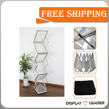 Free shipping to USA for Portable Acrylic Foldable Catalogue Shelf Magazine Rack Stand Brochure Holder(China (Mainland))