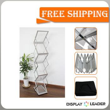 Free shipping to USA for Portable Acrylic Foldable Catalogue Shelf Magazine Rack Stand Brochure Holder(China (Mainland))