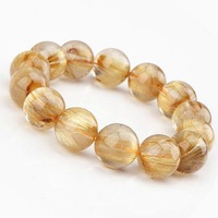 2015 Free shipping! Natural titanium crystal for collection of fine blond hair bracelet Domineering male models beads not dyed