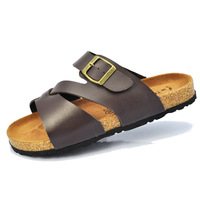 Popular men's breathable adhesive shoes sandals cork summer beach lovers male at home fashion word slippers