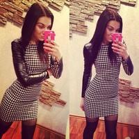 2015 women's  black PU -sleeved dress package hip new nightclub spot dress 6045