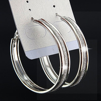 Wholesale Lots 6Pairs Fashion Hot Sale 3 rows Silver Frosted Big Hoop Earrings for Womens Bridal Party Jewelry B1059