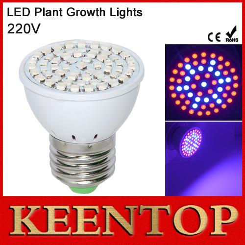 1Pcs Full Spectrum E27 60LEDs Faster Growth Lights 41Red+19Blue Led Grow Lamps For Flowers Plant Hydroponics LED Bulb Lighting()