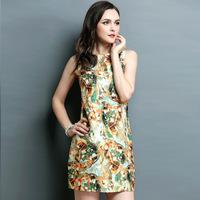 women summer dress 2015 flowers print embroidery sleeveless pullovers casual dress