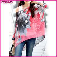2015 New Girl's Fashion Bohemian Printing Batwing Sleeve O-Neck Chiffon Shirt Beach Clothing 4240z Plus Size L XL Free Shipping