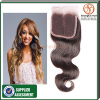 Free Shipping By DHL  Lace Closure Brazilian Virgin Hair Body Wave 4x4 Queen Hair Top Closure 7A