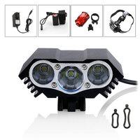 6000Lumen 3x CREE XM-L XML T6 LED Bike light Bicycle Head Front light Lamp 8.4v 12000mah Battery Headlamp Headlight Freeshipping