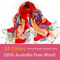Famous brand Story Of Shanghai 100% Wool Ladies Wool Scarf,2015 New Women's Printing Design 24 Colors Shawl,Luxury Scarves Women