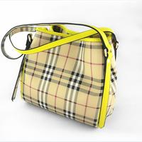 B women's handbag tote bag genuine leather cowhide picture bucket bag fashion plaid smiley one shoulder handbag
