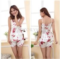Free Shipping Women Sexy Rose Flower Sleepwear Braces Shirts Shorts Underwear Pajamas Set 4018-514