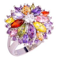 Free Ship Wholesale Peridot Garnet Citrine Amethyst White Topaz 925 Silver New Ring Size 7 8 9 10 Women Jewelry Flower Design