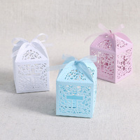 New 48PCS Cross Favor Laser Cut Candy Gift Boxes With Ribbon Wedding Party Favor Bags Baby Shower Decorations Party Accessories