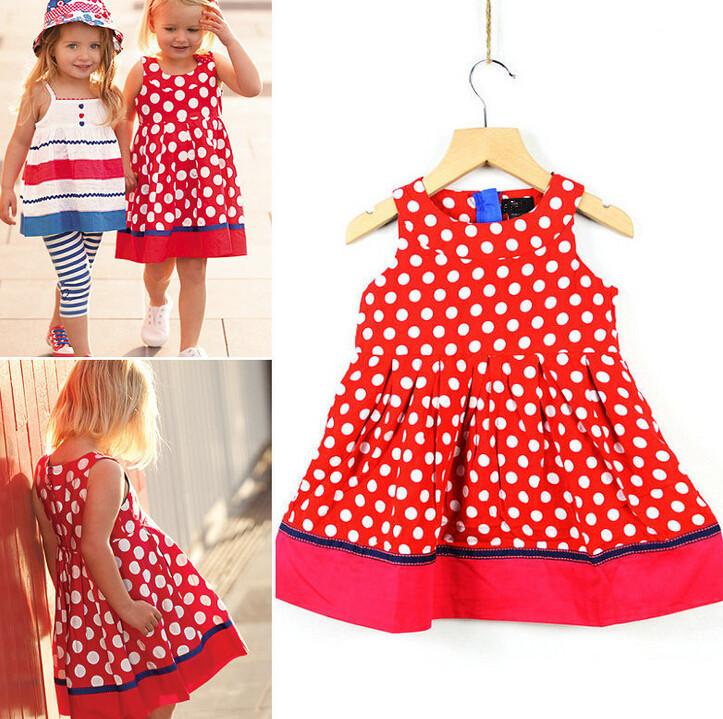 Children Girls European American Style Dot Summer Dress 2015 New Brand Cotton High Quality Spot Dot Two Tone Vest Tank Sundress(China (Mainland))