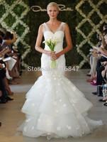 FDCL Custom Size New Elegant White/Ivory Mermaid V-Neck Bridal Gown Applique Layered Tulle Floor-Length Wedding Dresses