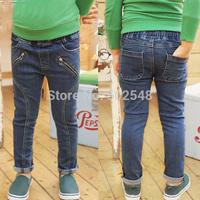 2015 Autumn Children Jeans Boy Double Zipper Jeans Long Pant Kids Clothes Free Shipping 5 PCS