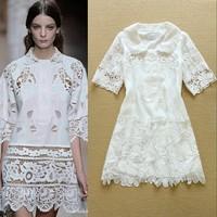 High-end 2015 Summer New European Style Women's Peter Pan Collar Embroidery Crochet Cute Dress  F16777