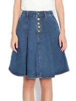 Free Shipping Women 2015 Summer Single Breasted elastic waist a-line Denim Skirt,Expansion skirt bust skirt