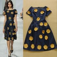 2015 Spring and Summer Women's Fashion Sunflower Appliques Casual Dress Denim Dress SS4612