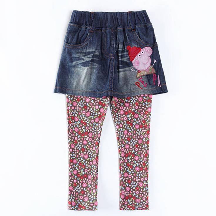 Menina Peppa Pig flores calças crianças meninas novo Design bordados crianças dos desenhos animados roupas Nova 2015 calças do bebê moda G5390(China (Mainland))