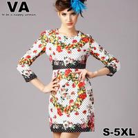 brand 2015 new spring floral Casual Print Slim Sheath Mini O-Neck Cute 4XL 5XL Full Sleeve Dresses vestido plus size xxxl P