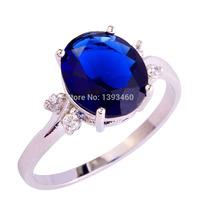 2015 Romantic Wedding Jewelry Sapphire Quartz 925 Silver Fashion Ring Size 6 7 8 9 10 11 12 For Free Shipping Wholesale