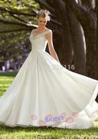 Free Shipping Floor-Length Wedding Dresses 2014 Custom Sleeveless V-neck Beading A-line Vestido De Noiva Bridal Dresses_BRIDALK