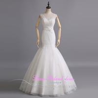 Romantic Mermaid Lace Beading Wedding Dress Bride 2015 Customized Floor Length Boda Bridal Gowns Vestido De Novias Real Image
