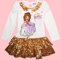 Baby Girls dress Kids Long Sleeve Sparkle Vestido Princesa Princess Sofia The First Dress Party dress CD51