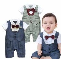 2015 New Fashion Baby Rompers Short Sleeve Gentlemen Baby Boy Romper Baby Jumpsuit Newborn Boys Clothing Summer 1579