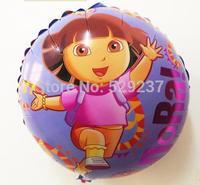 Free Shipping~ 10pcs/lot 18 inch Wholesale Aluminum foil balloon Helium balloons aluminum foil round DORA girl balloon