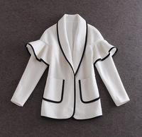 2015 New Europe Fashion Women,High quality,Big brand,,Large lapels flounced white,Woolen coat, Lady / Women coat
