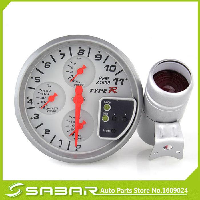 """2015 correu Tacometro 5 """" branca 4-em-1 tacômetro rpm medidor de temperatura do óleo medidor de pressão / metro auto / calibre auto / tacômetro / medidor car(China (Mainland))"""