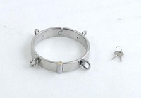 Newest Unisex Stainless Steel 4 ring Necklet Neck Ring Collar Restraint Chastity Locking Sex Games Toy