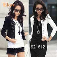 2015 New Fashion Spring Women Slim Blazer Coat Casual Jackets Feminino Long Sleeve V-Neck Black White Suit Ladies OL Outerwear