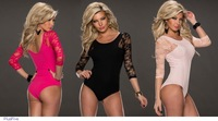 Hot Sexy Short Bodysuits Women Black Pink Rosy Lace 3/4 Sleeve Short Teddy Babydolls intimates
