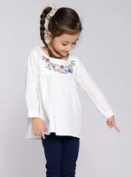 Girls Pure Color Simple Embroidery Owl Flower Shirt