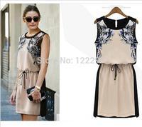 Summer dress / large size women's fashion was thin printing loose chiffon sleeveless dress belt decoration