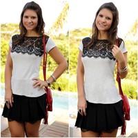 2015 Europe America Bohemia Spring Slash Neck Short Sleeve Hollow Out Women's Shirts Plus Size Ladies Chiffon Top Lace Blouse