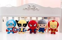 5pcs/set Marvel The Avenger Plush Dolls Iron man Spiderman Captain America Wolverine Plush Toy