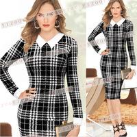 Women Fashion Black Dresses 2015 New Fall Spring Slim Bodycon Elegant Knee-length Pencil Shift Elegant Sheath Dresses XXL