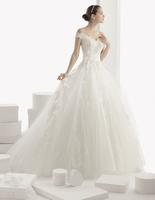 Designer 2015 New Arrivals Scalloped Neckline Off the Shoulder A-line Lace Wedding Dresses Vestido de Noiva A0141