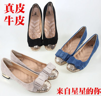 New fashion spring women shoes Genuine cowhide leather shoes party shoes single shoes Sequined shoes