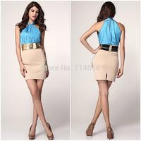 hot sale women's sheath new slim split elastic sheath hollow high collar short woman dress with belt in stock