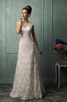 Designer Scalloped Neckline Cap Sleeves Backless A-line Lace Wedding Dresses 2015